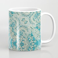 floral lace on blue Mug by clemm