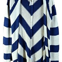 Independent Womens Open Chevron Knit Cardigan Sweater Long Navy Blue (Small)
