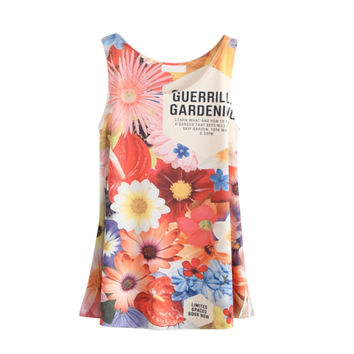 Newest Women Sunflower Cartoon Pattern Printing Ladies Tank Top Sexy Tops For Women Camisole Loose Vest