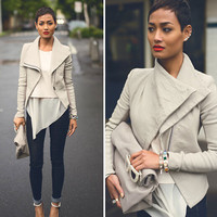 Fashion Vintage Women Slim PU Leather Jacket Long Sleeve Biker Motorcycle Coat