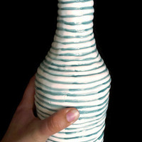 Ceramic bottle, container for wine, water, or liquid of choice.- Decorative green and white bottle- Ceramic/Pottery-Handmade clay bottle