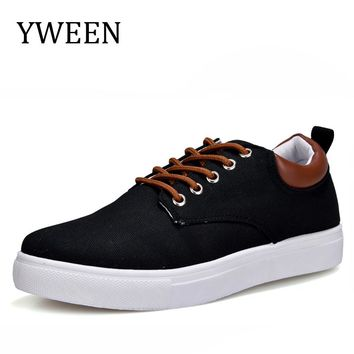 YWEEN Men's Casual Shoes,Man Spring Autumn Style Flats Fashion Sneakers For Men Solid Canvas Shoes Large size 45-47