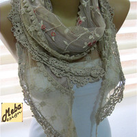 Scarf,Beige Scarf -Triangular Lace Scarf - Fashion scarf - gift Ideas For Her Women's Scarves-christmas gift- for her -Fashion accessories