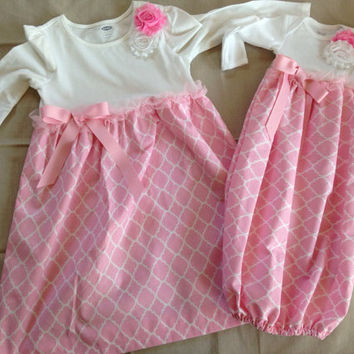 Matching Sister Set Coming Home Outfit, Take Home Outfit, Going Home Outfit, Layette, Newborn Nightgown, Newborn Dress, Baby Hat, Baby Cap,