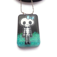 Halloween Jewelry - Skull Necklace - Neon Blue Glitter Pendant - Kawaii Skull Jewelry