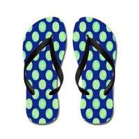 Green Yellow Circles on Dark Blue Flip Flops