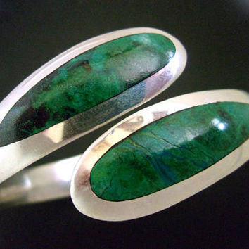 Natural Chrysocolla Sterling Silver Hinged Bracelet, SERGIO, Bypass, Mexico, Vintage