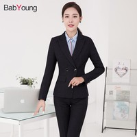 BabYoung Pants Suit Women Office Ladies pants suits set High Quality Plus Size Striped Blazer Work Wear Business Elegant Female