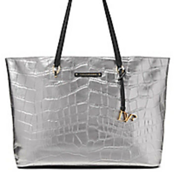 DVF Large Ready To Go Metallic Croc Tote