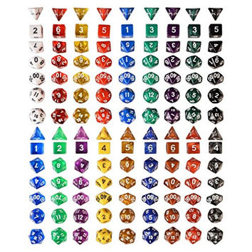 RPG Polyhedral Gaming Dice - Complete Set of Seven Dice 18 Colors - D4 D6 D8 D10 D12 D20 & Percentile dice - Great for Tabletop, Roleplaying, & Dn