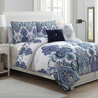 Avondale Manor 5 Piece Melisenta Reversible Comforter Set, Queen, Lavender