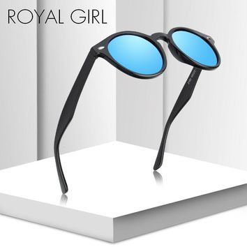 ROYAL GIRL Round Polarized Sunglasses Women Men Fashion Black Pink eyeglass for Male Nail Frame Shade Oculos UV400 ms027