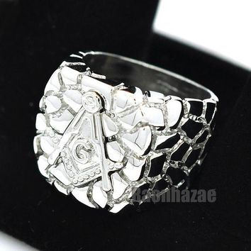 DCCKH7E NEW MENS FREEMASON MASONIC SILVER PLATED NUGGET RING SIZE 8 - 13 N012S