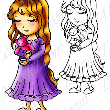 Bedtime Girl Anime Chibi Character Clipart, Digital Stamp, Coloring Page Line Art Illustration For Children and Clipart Download