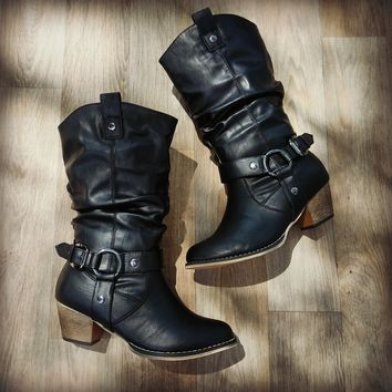 Wendy Slouchy Cowboy Boots (Black)