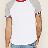 Striped-Trim Raglan Tee | 21 MEN - 2000160567