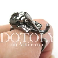 Miniature Elephant Animal Hug Wrap Ring Gunmetal Silver Sizes 4 to 10