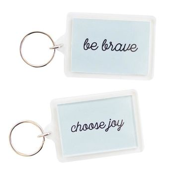 Choose Joy + Be Brave Ice Blue Keychain