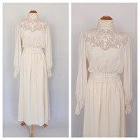 Vintage 1900's Style Edwardian Dress Antique 1970 Wedding Gown Lawn Dress Cream Silk Gown Size Large Vintage Bridal Victorian High Collar