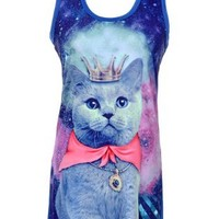 Simplicity Women's Galaxy Cat Graphic Print Long T-shirt Rock Punk Top Dress