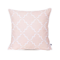 Moroccan quatrefoil lattice pillow cover, Trellis pillow, Chic geometric cushion, Pastel salmon, Girly pillows, Kids room decor, 18x18 inch