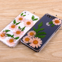 Daisy sun flower leaves resin iPhone case Galaxy case 026