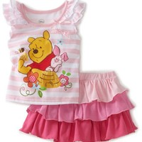 Disney Baby-Girls Infant Winne Stripe Top and Ruffle Skirt Set