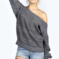 Isla Marl Knit Slash Neck Fisherman Jumper