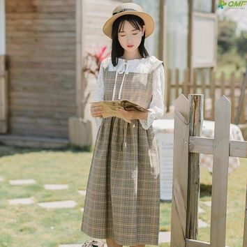 Japanese Plaid Summer Dress 2018 Mori Girl Preppy Vestidos Sash Tartan Sleeveless Dress All Match Fresh Literary Strap Dress New