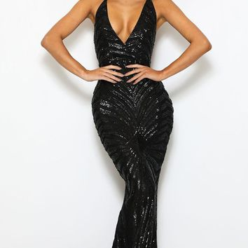 Champagne Dreams Black Sequin Geometric Pattern Sleeveless Spaghetti Strap V Neck Mermaid Maxi Dress