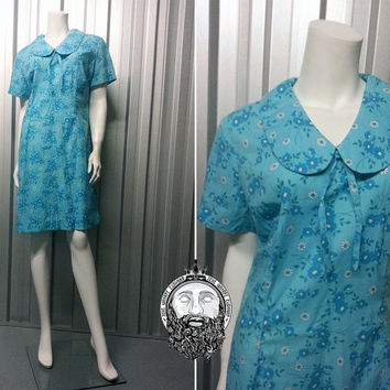 Vintage 60s 70s Sky Blue Floral Shift Dress Peter Pan Collar Scooter Girl Boho Chic Mini Dress Festival Clothing Short Sleeves Psychedelic