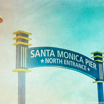 Santa Monica Pier Entrance Sign Fine Art Print Beach Photography California blue Green Texture Mint Los Angeles Photo