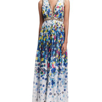 Diane von Furstenberg Lelani Floating Flower Maxi Dress, Multicolor
