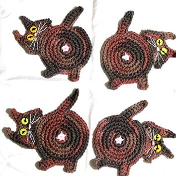 Peek-A-Boo Cat Butt Coasters, Crochet Cat Butt Coasters, Handmade Peek-A-Boo Cat Butt Coasters, Set of 4 Cat Butt Coasters, Cat Butt Mug Rugs
