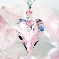 Crystal Suncatcher Rear View Mirror Charm Pink Car Charms