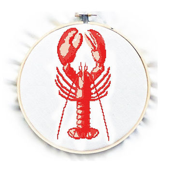 Instant Download - Antique Illustration - Lobster , Cross Stitch Pattern, PDF counted chart, No.106