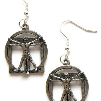 Vitruvian Man Earrings