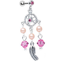 Pink Pearly Dreamcatcher Tragus Earring MADE WITH SWAROVSKI ELEMENTS | Body Candy Body Jewelry