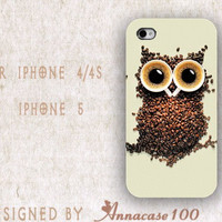 iphone case, i phone 4 4s 5 case, iphone4 iphone4s iphone5 case,stylish plastic rubber silicone cases cover owl coffee funny floral