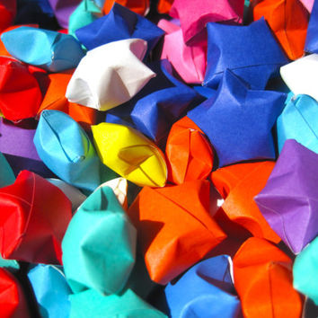 Origami Lucky Star, 100 Mixed Color Paper Stars , Rainbow Color Puffy Stars for Wedding, Birthday Party, Baby Shower, Gift