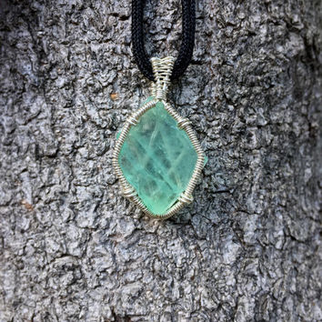 Green Calcite Wire Wrapped Pendant, Crystal Necklace, Crystal Jewelry