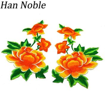 ac NOOW2 Han Noble Flowers Embroidered Patches Iron on Sticker for clothes Clothing applique DIY Sewing Accessories Decoration P234 1Pair