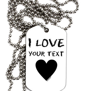 Personalized I Love Customized Adult Dog Tag Chain Necklace