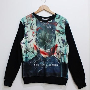 Batman Print Women Men Sweater = 1927876996