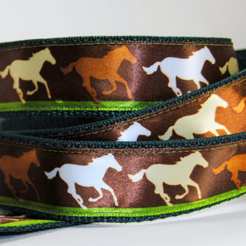 Wild Horse Equine Dog Collar Leash Keyfob Set in Hunter Green and Brown
