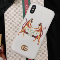 GUCCI New fashion iPhone two tigers print case toughened glass White