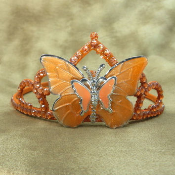 Crown - Tiara - Orange - Butterfly - Hair Accessories - Orange Wedding - Rhinestone Headband - Princess - Headpiece - Bridal - Wedding