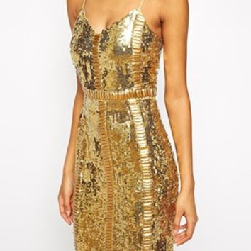 Virgos Lounge Honor Allover Sequin Midi Dress