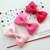 Basic Hairbows Set of 3 in Shades of Pink Tuxedo Bow Tie Hairbows Perfect for Toddlers in Shocking Pink Hot Pink Light Pink