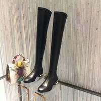 GUCCI Fashion Women Leather peal Zipper Knee Length High boots shoes Black Best Quality